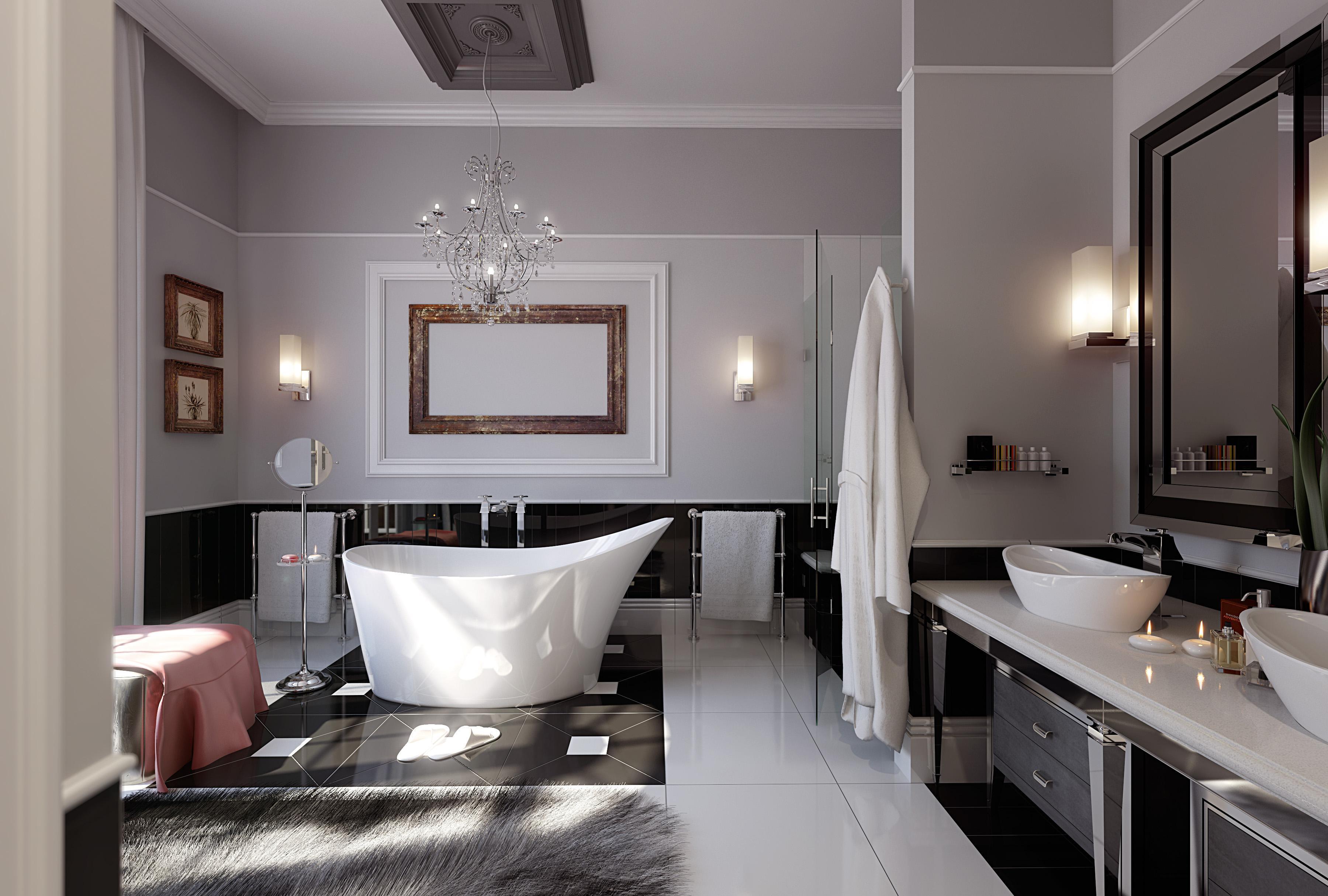 łazienka glamour z zachowaniem prostej formy