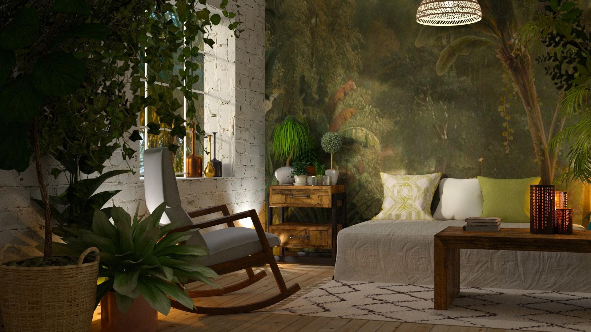 aranżacja salonu w stylu urban jungle
