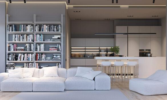 minimalistyczne wnętrze z panelami led