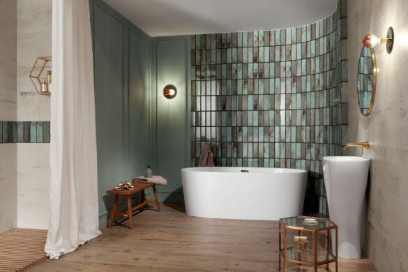 Wystrój łazienki w stylu mid-century modern